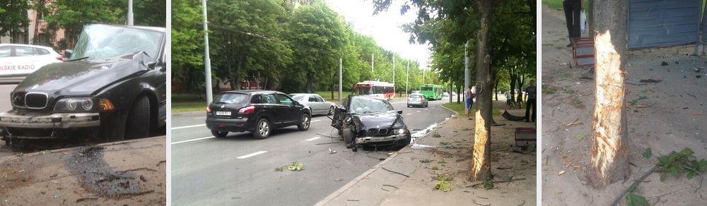 Аварийное авто после столкновения с деревом