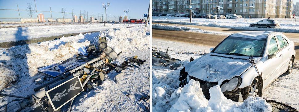 Аварийный авто Mersedes на заснеженной дороге в Минске